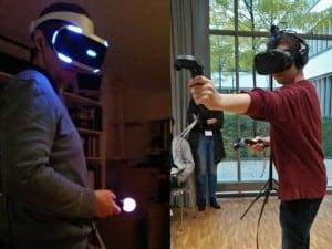 Zwei Virtual Reality (VR)-Systeme im Einsatz
