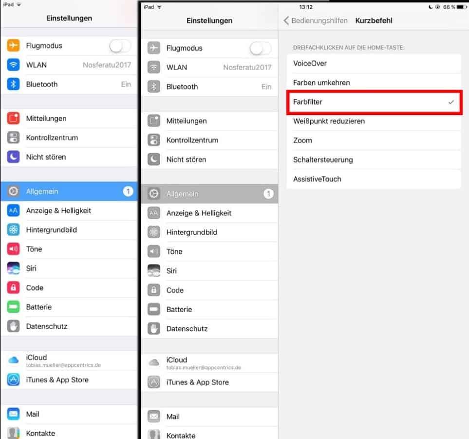 Graustufen aktivieren: iOS Schritt 3