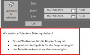 Outlook Kalender: bessere Besprechungen mit eigener Terminvorlage!
